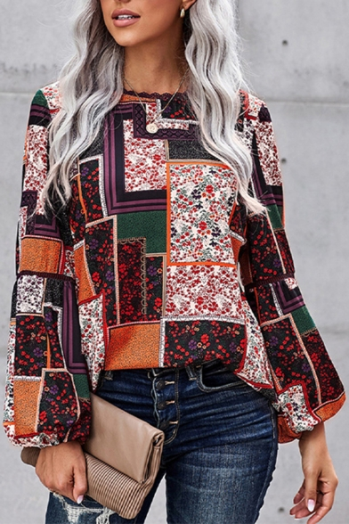 Elegant Women's Blouse Color Block Patchwork Ditsy Floral Scalloped Round Neck Long Bishop Sleeves Regular Fitted Blouse