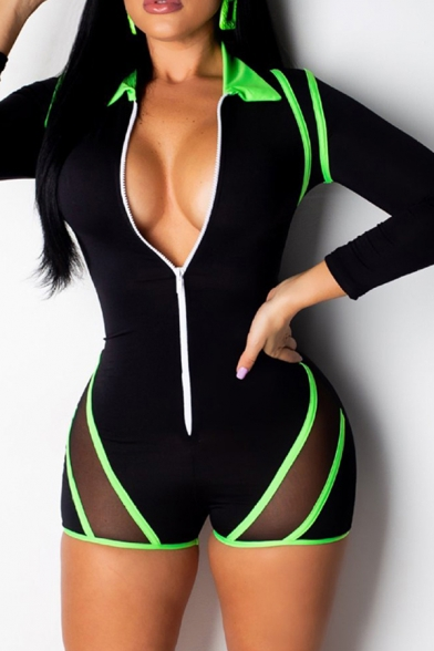 Stylish Womens Romper Mesh Gauze Contrast Stripe Pattern Zipper Front Spread Collar Long Sleeves Slim Fitted Romper