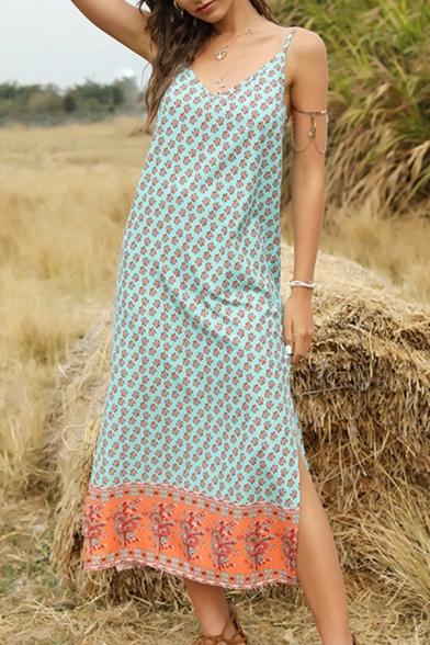 Tribal Style Women's Slip Dress All over Floral Printed Contrast Panel Side Slit V Neck Sleeveless Fitted Slip Dress