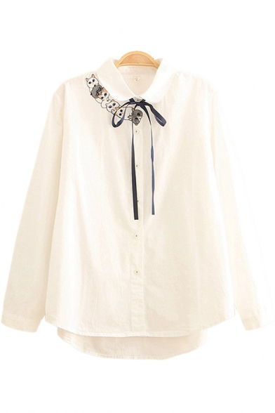 Vintage Womens Shirt Cat Embroidered Tie Ingot Collar Button Detail Loose Fit Long Sleeve Shirt