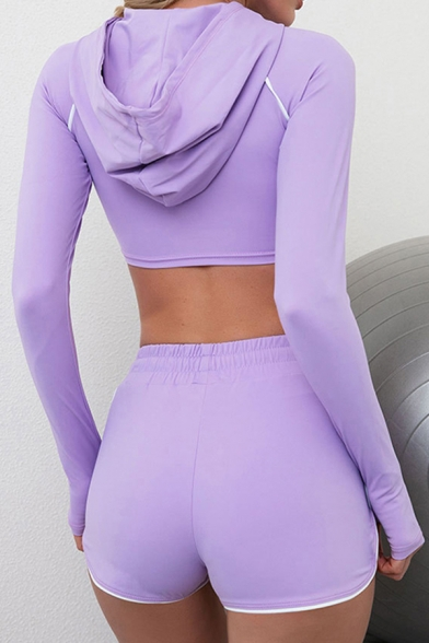 Womens Co-ords Unique Finger Holes Ruched Drawstring Detail White-Piping Skinny Fitted Shorts Hooded Long Sleeve Cropped Tee Yoga Co-ords