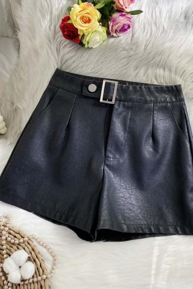 Womens Shorts Chic Metal-Buckle Detail Zipper Fly Wide Leg High Waist Regular Fitted Black PU Shorts