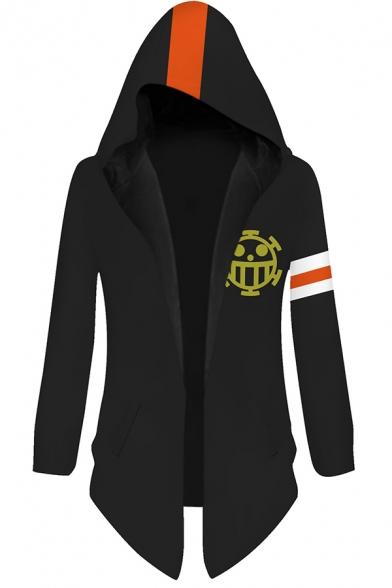 Cool Mens Hoodie Cosplay 3D One Piece Trafalgar Law Logo Pattern Open Front Mid-Length Slim Fitted Long Sleeve Hoodie