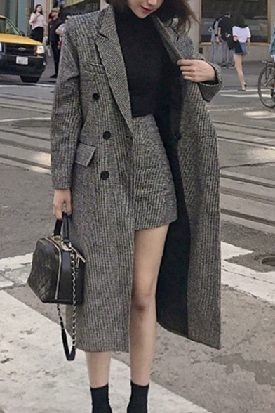 Elegant Women Houndstooth Printed Double Breasted Flap Pockets Notched Collar Long-sleeved Regular Fitted Coat with Short Bodycon Skirt