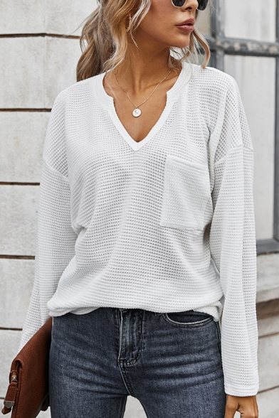 Fancy Women's Sweater Knitting Solid Color Chest Pockets V Neck Long-sleeved Regular Fit Sweater