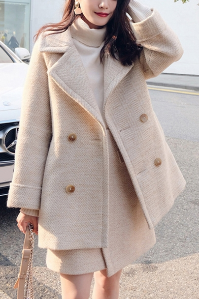 Fancy Women's Woolen Coat Zigzag Stitch Knitted Pattern Double Breasted Rolled up Cuffs Notched Collar Long Sleeves Relaxed Fit Woolen Coat