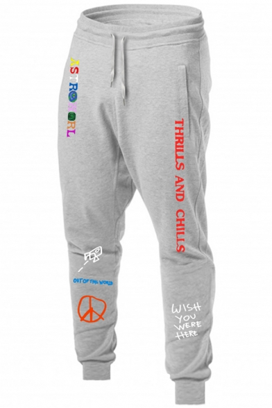 Guys Casual Fashion Letter WISH YOU WERE HERE Printed Drawstring Waist Cotton Sweatpants