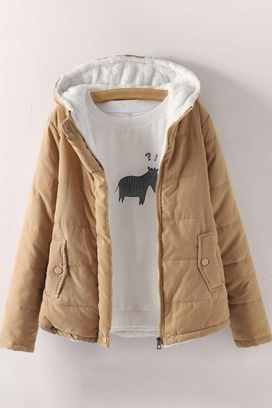 Womens Jacket Fashionable Plain Pockets Thickened Zipper down Loose Fit Long Sleeve Hooded Padded Jacket