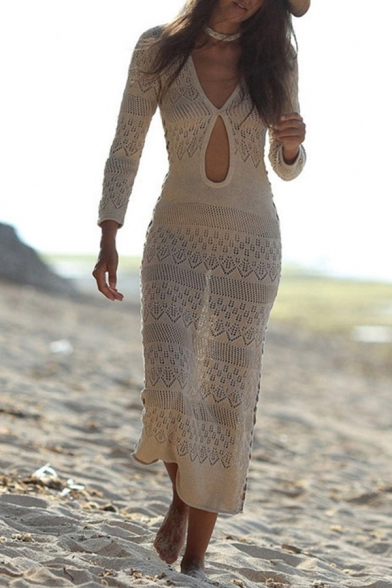 All-Match Bodycon Dress Hollow out Broderie Design V Neck Long-sleeved Bodycon Dress for Women