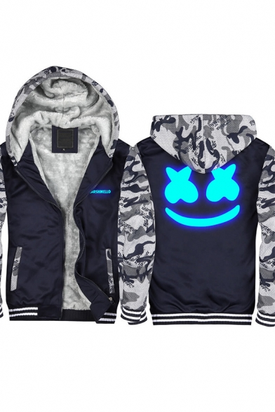 American Music Producer and DJ Smile Face Printed Camo Patched Long Sleeve Zip Up Thick Hoodie