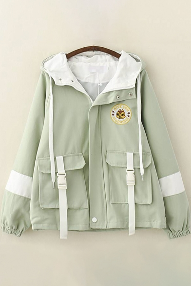 Classic Womens Trench Coat Fox Letter Embroidery Flap Pockets Front Contrast Buckle Zipper Detail Long Sleeve Hooded Loose Fit Trench Coat