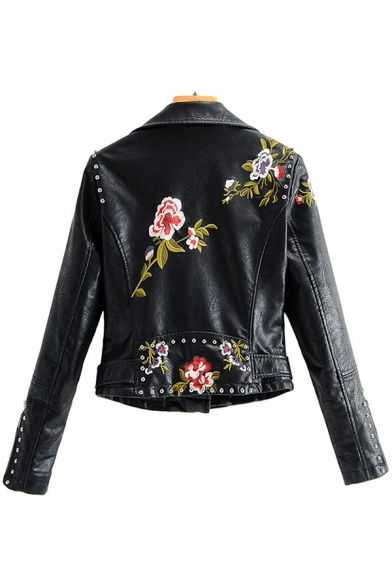 Cool Embroidery Floral Skull Print Beading Zipper Embellished Long Sleeve Black Crop Belted Biker Jacket