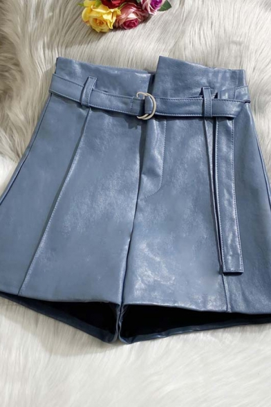 Creative Womens Shorts Solid Color Panel D-Ring Belted High Rise Regular Fitted Wide Leg PU Shorts