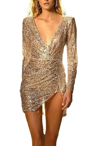 Fancy Womens Bodycon Dress Sequins Detail Solid Color Backless V Neck Long-sleeved Asymmetrical Hem Short Bodycon Dress
