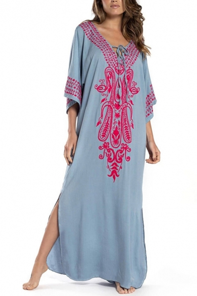 Fashionable Women's Swing Dress Tribal Embroidered Tie Front Contrast Trims Side Slit V Neck Half Sleeves Swing Dress