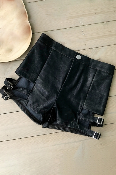 Novelty Womens Shorts Solid Color Buckle Strap Bandage Hollow out Slim Fitted Zipper Fly Leather  Shorts
