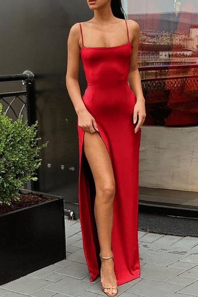 Trendy Women's Maxi Dress Solid Color Side Slit Strap Sleeveless Square Neck Fitted Maxi Dress