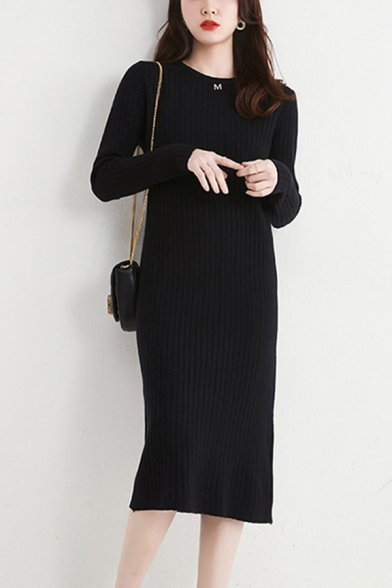 Trendy Women's Sweater Dress Solid Color Ribbed Knit Crew Neck Long-sleeved Pullover Midi Sweater Dress