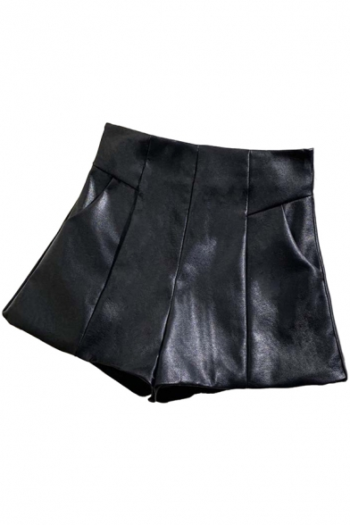 Vintage Womens A-Line Shorts Solid Color Invisible Zipper Back High Rise Regular Fitted Wide Leg PU Shorts