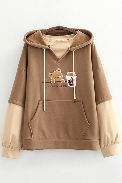 Womens Hoodie Casual Color Block Panel Bubble Tea Japanese Letter Embroidered Kangaroo Pocket Drawstring Long Sleeve Relaxed Fitted Hoodie