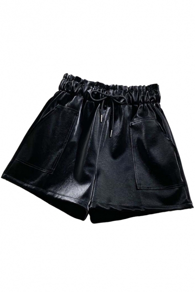 Womens Shorts Chic Solid Color Large Pockets Wide Leg Regular Fitted Bud Drawstring Waist PU Shorts
