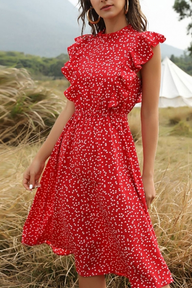 All-Match A-Line Dress Ditsy Floral Printed Ruffles Butterfly Sleeves A-Line Dress for Women