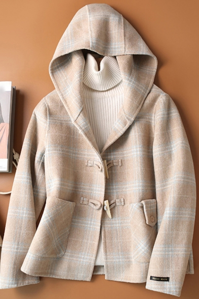 Cool Womens Coat Houndstooth Plaid Pattern Pockets Front Double-Sided Woollen Toggle-Button Loose Fit Long Sleeve Hooded Wool Coat