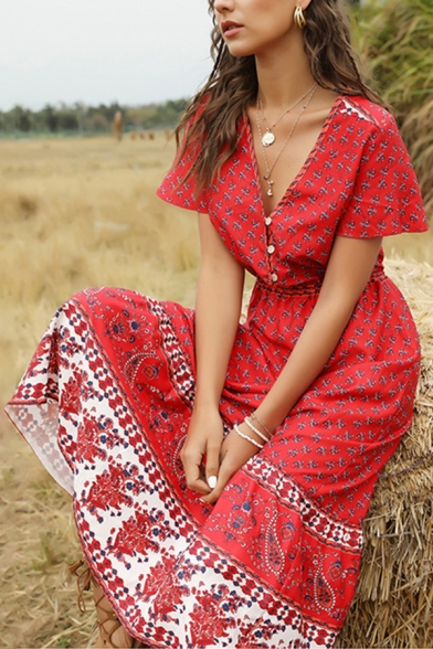 Tribal Style Dress All over Floral Printed Contrast Trim Banded Waist Button Detail V Neck Short Flare Cuff Sleeves A-Line Dress for Women