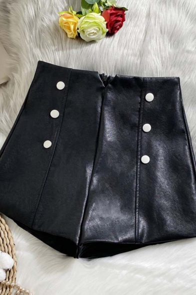Womens Shorts Stylish Plain Double Breasted Invisible Zipper Back Wide Leg High Waist Regular Fitted PU Shorts