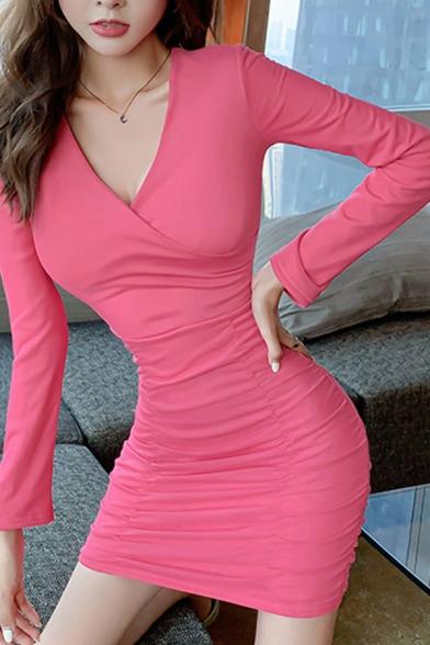 Womens Stylish Rose Red Plunge V-Neck Long Sleeve Drawstring Hem Plain Mini Bodycon Dress