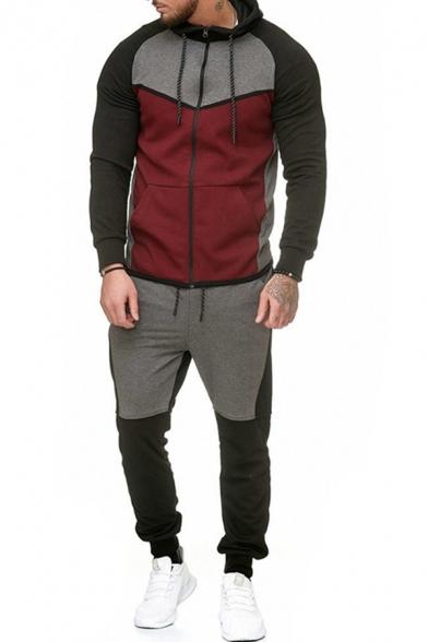 Elegant Men's Active Set Color Block Contrast Trim Front Pocket Zip Placket Long-sleeved Regular Fitted Jacket with Long Pants Co-ords