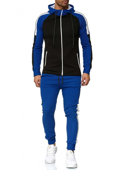 Fashionable Mens Active Set Contrast Panel Color Block Zip Closure Contrast Stitching Side Pockets Banded Cuffs Long Sleeves Hoodie with Long Pants Co-ords