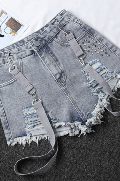 Street Womens Shorts Rivet Decoration Mid Rise Ripped Fit Suspender Denim Shorts