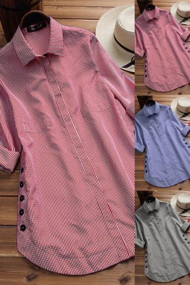 Stylish Womens Shirt Plaid Pattern Button Design Spread Collar Asymmetrical Hem Long Sleeves Relaxed Fit Shirt Blouse
