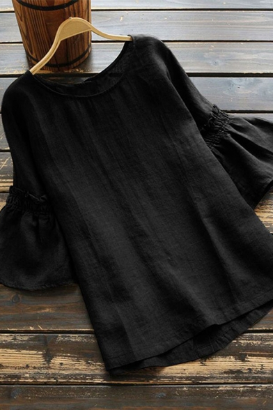 Trendy Women's Blouse Plain Cotton and Linen Round Neck Short Flare Cuffs Sleeves Regular Fitted Pullover Shirt