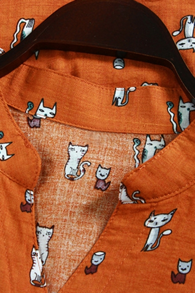 Youthful Women's Shirt Blouse All over Cartoon Cat Print Chest Pocket Button Closure Stand Collar Long Sleeves Cotton and Linen Relaxed Fit Shirt Blouse