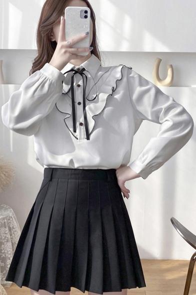 Elegant Women's Shirt Blouse Ruffles Design Contrast Trim Tie Turn-down Collar Long-sleeved Regular Fitted Shirt Blouse