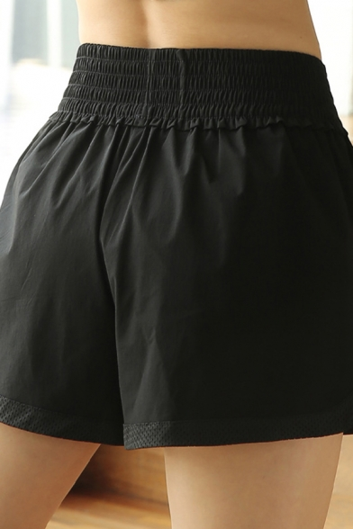 Gym Girls Shorts Solid Color Elastic Waist Quick Dry Relaxed Shorts