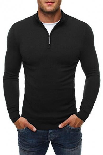 Leisure Men's Sweatshirt Solid Color 1/4 Zip Collar Long-sleeved Slim Fitted Sweatshirt