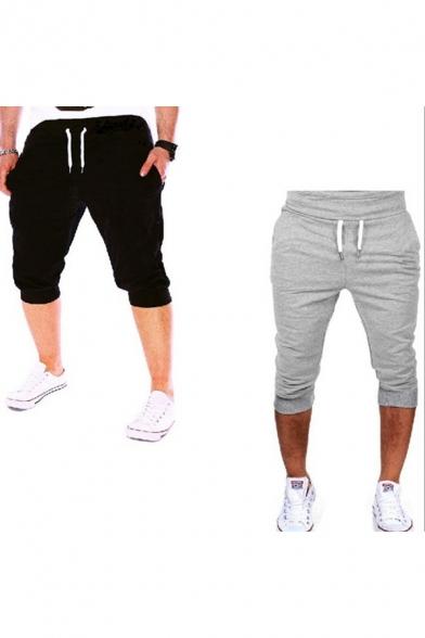 Trendy Men's Jogger Shorts Solid Color Drawstring Waist Side Pocket Cropped Shorts