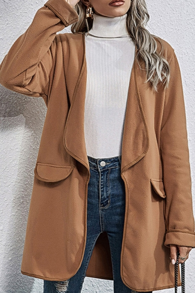 Warm Khaki Solid Color Long Sleeve Open Front Loose Coat for Ladies