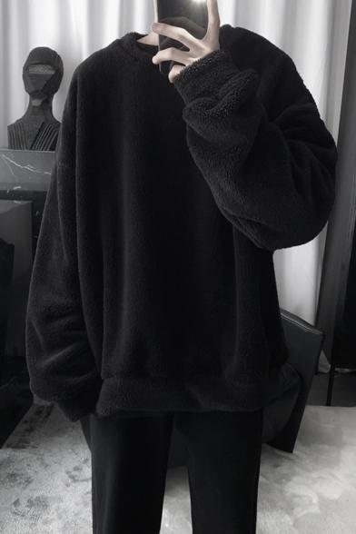 Warm Thickened Sweatshirt Fur Fleece Crew Neck Soft Brushed Long Sleeves Regular Fitted Sweatshirt