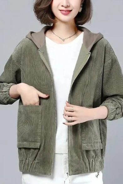 All-Match Womens Jaclet Hooded Patchwork Corduroy Front Pockets Banded Trim Zip Closure Long Sleeves Regular Fitted Jacket