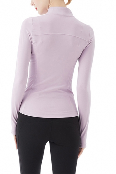 Cozy Women's Jacket Plain Zip Fly Thumb Hole Quick Dry Long-sleeved Stand Collar Fitted Workout Jacket