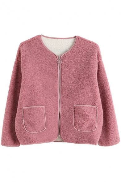 Fancy Women's Coat Lamb Wool Solid Color Pockets Zip Fly Long Sleeves Collarless Relaxed Fit Fur Coat