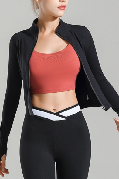 Fancy Women's Training Jacket Solid Color Zip-down Stand Collar Long-sleeved Finger Hole Fitted Yoga Jacket