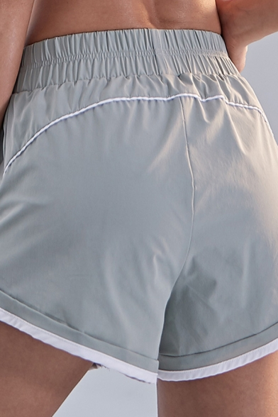 Sports Womens Shorts Contrast Pipe Elastic Waist Relaxed Shorts