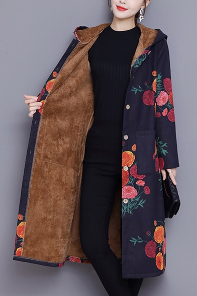 Vintage Women's Coat Floral Pattern Front Pockets Button Fly Brushed Inside Long Sleeves A-Line Regular Fitted Midi Coat