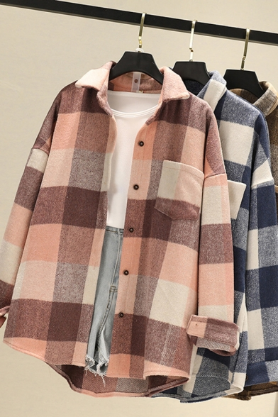 Womens Classic Shirt Thickened Plaid Pattern Long Sleeve Turn Down Collar Button Up Relaxed Fit Shirt Top