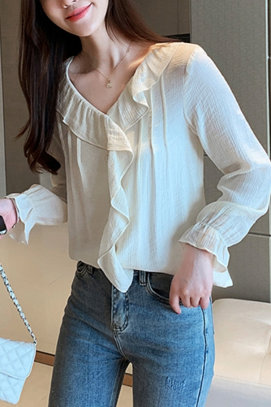 Leisure Women's Shirt Blouse Solid Color Ruffles Hem Long Flare Cuff Sleeves V Neck Regular Fitted Shirt Blouse